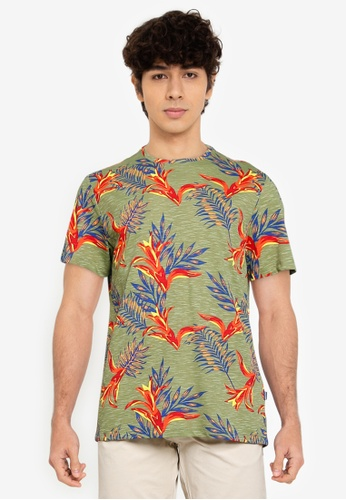 BLEND green and multi Leaf Print Crew Neck T-Shirt C3A89AACBC19F6GS_1