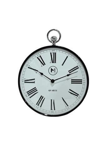 "Moderno black Premium Wall Clock 12"" with Gold Roman Numeral 2BDA2HL391B5B6GS_1"