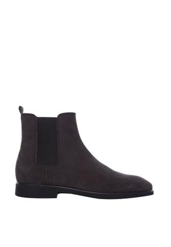 Zeve Shoes black Zeve Shoes Chelsea Boots - Grey Suede Leather 06E57SH3A4BE10GS_1
