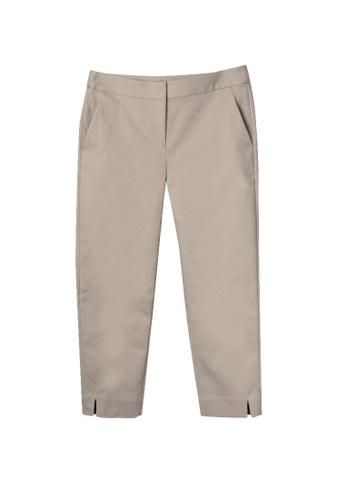 Giordano Ladies beige Cotton Nylon Spandex Slit Hem Capri 0D0A5AA41E9099GS_1
