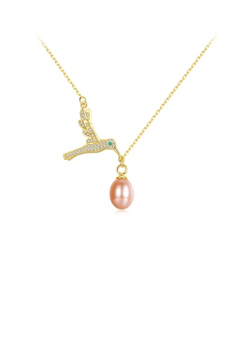 Glamorousky white 925 Sterling Silver Plated Gold Elegant Creative Bird Pink Freshwater Pearl Pendant with Cubic Zirconia and Necklace D2BFDAC8FAFCDEGS_1