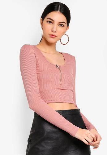 MISSGUIDED pink Zip Front Scoop Neck Rib Crop Top E942AAAD436586GS_1