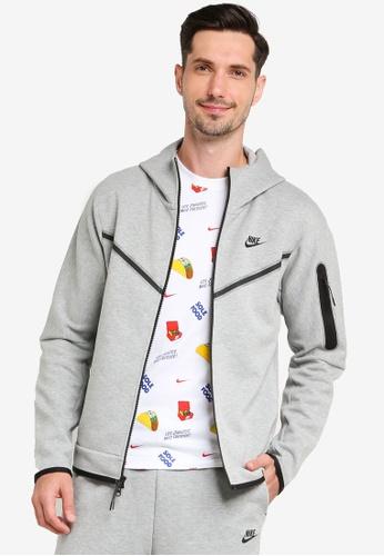 Nike grey Tech Fleece Full-Zip Hoodie WR 9FE0EAAF5654FEGS_1