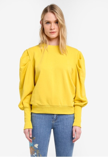 Mango yellow Puffed Shoulder Sweatshirt MA193AA0ROQCMY_1