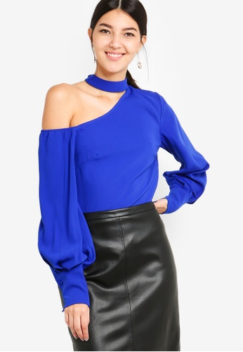 Lavish Alice blue Choker Neck One Shoulder Balloon Sleeve Top E253DAAFC1752CGS_1
