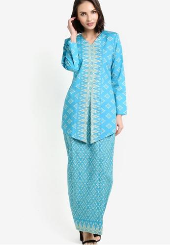 Butik Sireh Pinang blue Larissa Cotton Modern Kebaya with Songket Print BU003AA46FNPMY_1