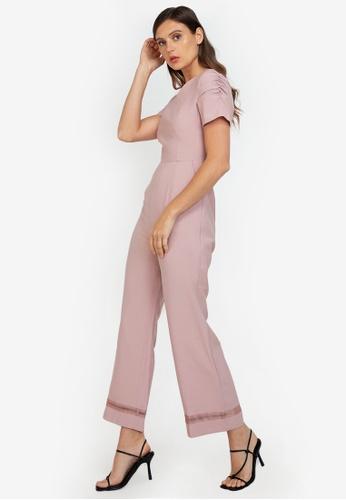 ZALORA WORK pink Puff Sleeve Jumpsuit A45F6AA5CC1C74GS_1
