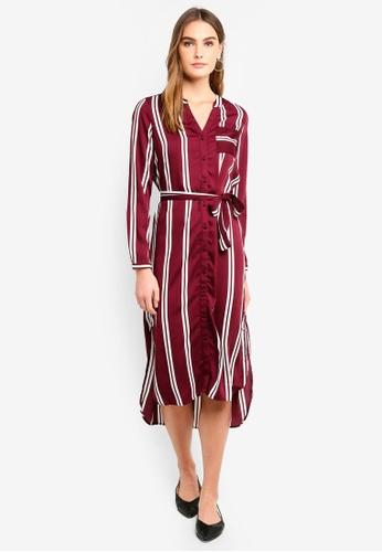 Vero Moda red Katlyn Dalion L/S Calf Shirt Dress BCC83AAF809722GS_1