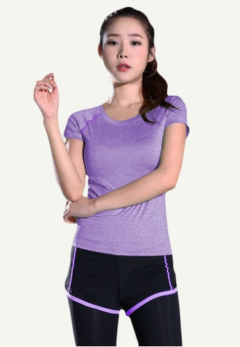 B-Code purple ZYG5148-Lady Quick Drying Running Fitness Yoga Sports Top and Leggings with Shorts-Purple 1A5E6AA2E5B533GS_1