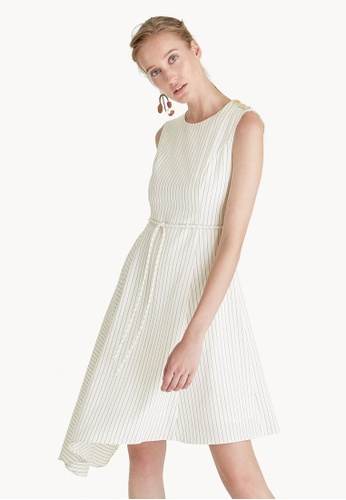 Pomelo white Premium Polyester Midi Pinstripe Dress - White DB500AAD7F40C9GS_1