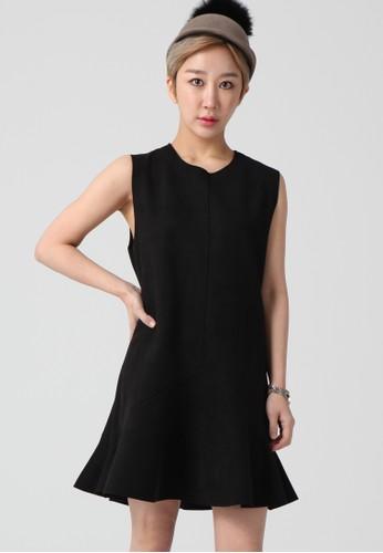 韓流時尚  無袖A線條喇叭裙 F40esprit專櫃01, 服飾, 洋裝