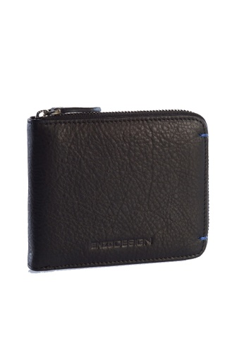 ENZODESIGN black and blue Ultra Soft Cow Leather Zip Around Wallet   EN115AC97ZWKPH_1