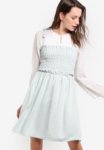 LOST INK green Shirred Bow Shoulder Sun Dress LO238AA57KRUMY_1