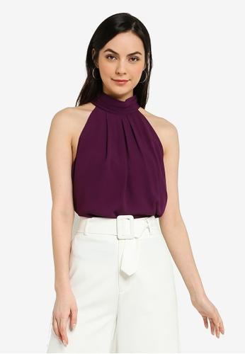 FORCAST purple Madelyn Halter Top 2D78AAA0762908GS_1