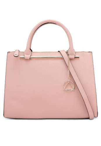 ZALORA pink Structured Tote Bag With Detachable Charm FE67FZZ6163BEBGS_1