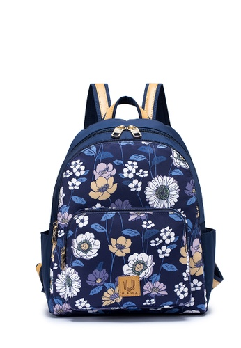 ULA ULA navy ULA ULA Blossom Night Classical Backpack with Leather Trimmed Straps and RFID Pocket (HD1003) 218A3ACBDB0166GS_1