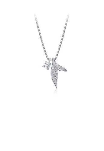 Glamorousky white 925 Sterling Silver Simple Fishtail Pendant with Cubic Zircon and Necklace 2DB59AC21EE078GS_1
