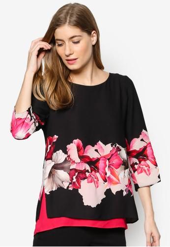 Pesprit outlet 台灣etite 撞色層次下擺印花上衣, 服飾, 上衣