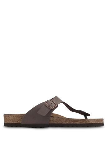 Birkenstock brown Gizeh Birko-Flor Nubuck Sandals BI090SH60HNJMY_1