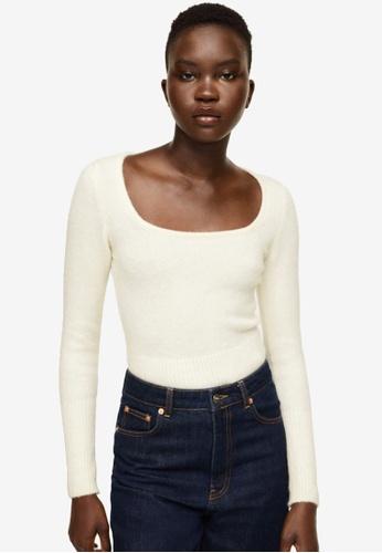 Mango beige Textured Knit Sweater A49A4AAE0B17BBGS_1