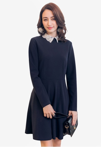 Yoco navy Lacy Collared Dress 12ED6AA0CE9954GS_1