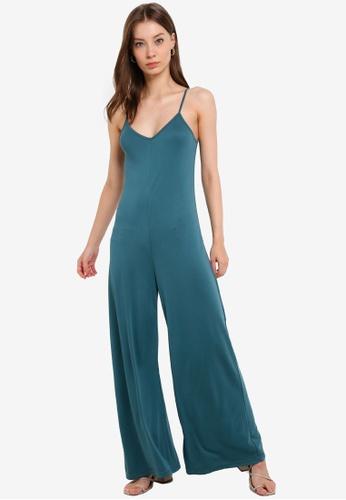 ZALORA BASICS green Wide Leg Jumpsuit made from TENCEL™ F12F0AAFE97C7DGS_1