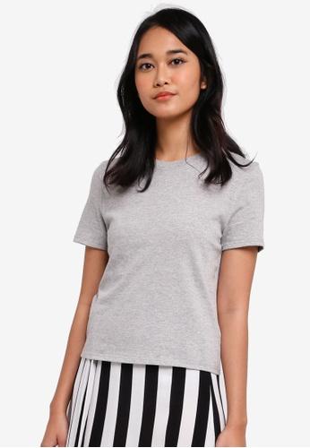 TOPSHOP grey Boxy Crop T-Shirt 7A7FEAA90FDDB9GS_1