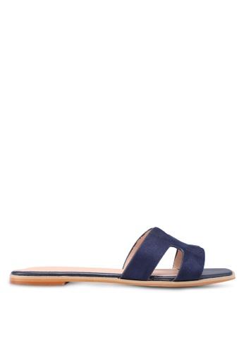Nose 海軍藍色 Croco Print Flat Slide On Sandals FFD75SH8656A00GS_1