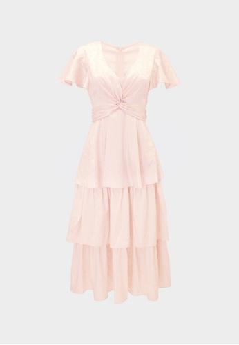 Pomelo beige Tier Ruffled V Neck Dress - Cream 9B00DAAFACBE53GS_1