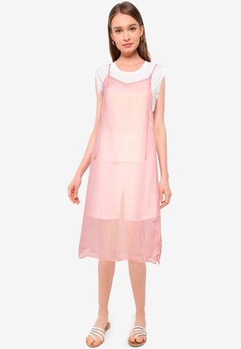 Heather pink Semi-sheer Camisole Dress E0158AA4FB5BF4GS_1
