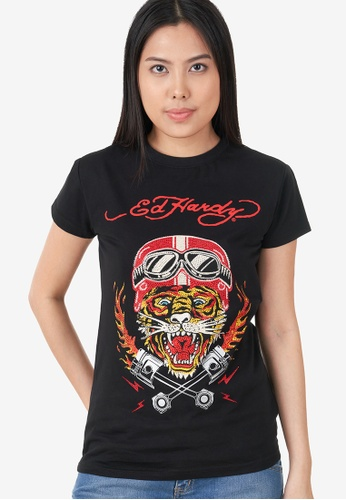 "Ed Hardy black Ed Hardy Ladies ""High Spirit Tiger"" Rhinestone Embroidered Round Neck Tee F71C7AAAA87BD7GS_1"