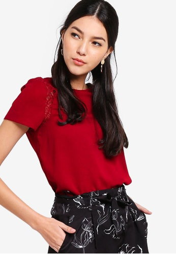 ZALORA red Lace Panel Short Sleeves Blouse E9706AAF633BA2GS_1