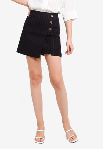Hopeshow navy Front Overlap Flap Striped Mini Skirt 60A7FAA087C69FGS_1
