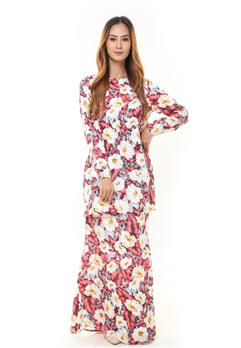 Rina Nichie Couture red Rina Printed Kurung Red White Flower 18433AAB27D851GS_1