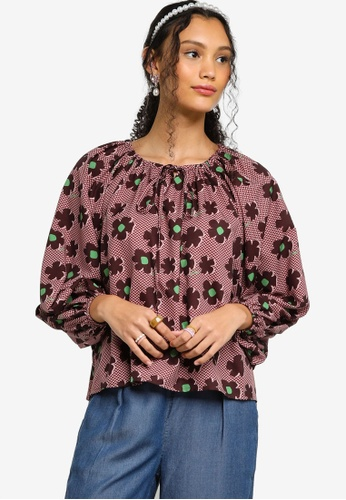 Lubna red Printed Peasant Blouse 48526AA97AA754GS_1