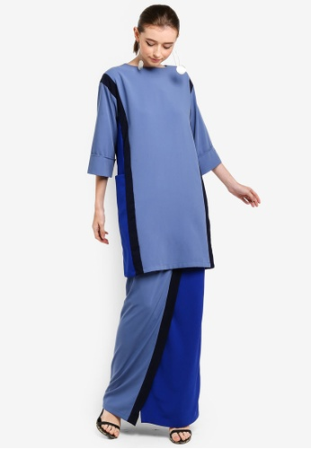 Mondrian Side Pocket Kurung from 3thelabel in black and Grey and Blue