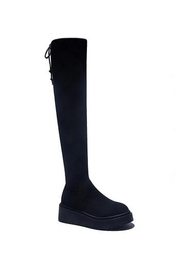 Twenty Eight Shoes 黑色 超修腳羊猄絨厚底過膝長靴Y0577 ACF37SHE509B3CGS_1