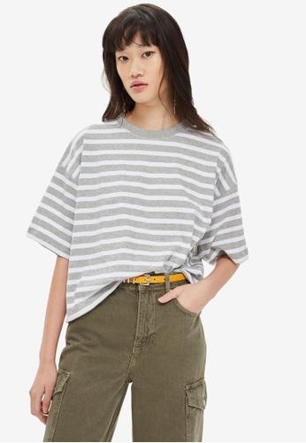 TOPSHOP grey Stripe Boxy T-Shirt 5C5F5AA59291D5GS_1