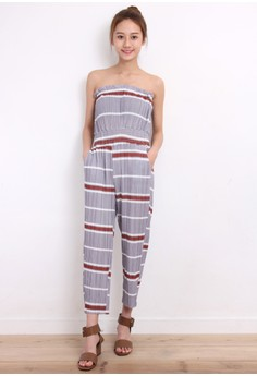 Stripe Pleated Overalls