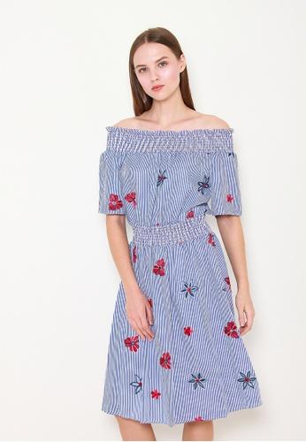 Leline Style blue Raelynn Stripes Offshoulder Dress E6DA3AA214D6EAGS_1