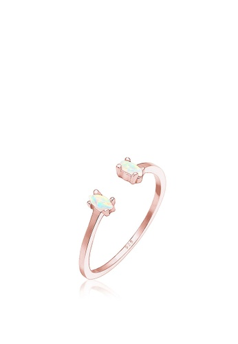 ELLI GERMANY gold Elli Germany Ring Adjustable Oval Geo Opal 925 Silver Rose Gold Plated D4DD3AC3765E53GS_1