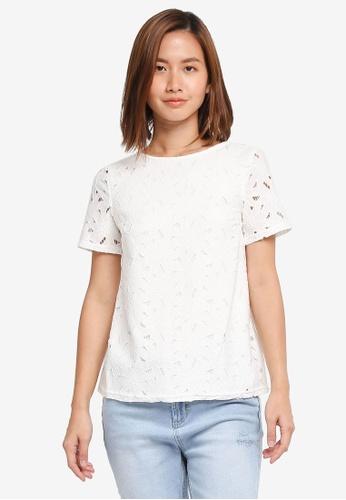 Dorothy Perkins white Lace Short Sleeve Tee C5268AA543CB42GS_1