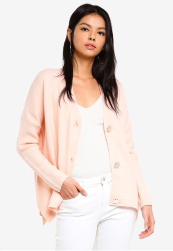 Miss Selfridge pink Pink Gold Button Cardigan B2F3CAA43235F9GS_1