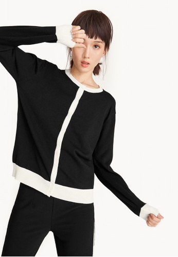 Pomelo black Contrast Trim Knit Cardigan - Black 1E5B7AA75F62E9GS_1