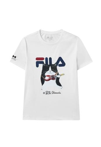 FILA white FILA x Pepe Shimada Tuxedo Cat Print Cotton T-shirt 31958AA48456E0GS_1