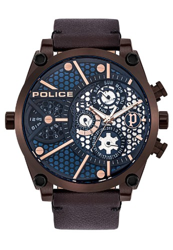 Police blue and brown Jam Tangan Pria Kulit Police PL.15381JSBZ03 Original DAAD9AC093DA91GS_1