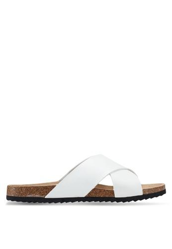 Brave Soul white Dawson Cork Sandals with Cross Straps 3FA5CSHC99374BGS_1