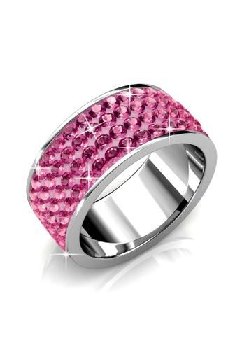 Her Jewellery pink and silver Roller Ring (Dark Pink) - Made with Premium grade crystals from Austria BAFF4AC212FB2CGS_1
