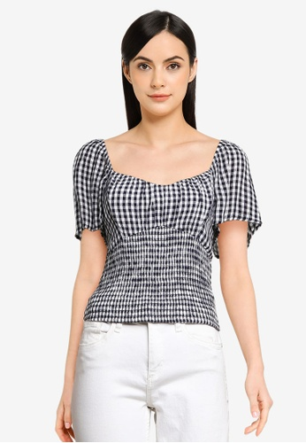 Abercrombie & Fitch multi Ruched V-Neck Smock Waist Top 459E1AA333208FGS_1