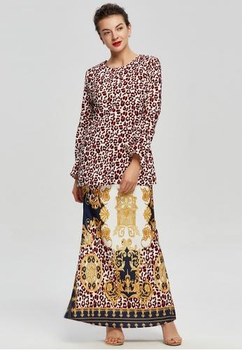 Era Maya brown and red and gold Baroque Leopard Prints Baju Kurung Moden 6346EAA5F453F7GS_1